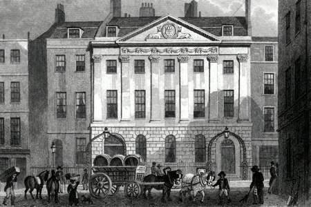 ANTIQUE PRINT: SKINNERS' HALL, DOWGATE HILL.