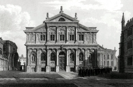 ANTIQUE PRINT: THE THEATRE [THE SHELDONIAN THEATRE, OXFORD] .