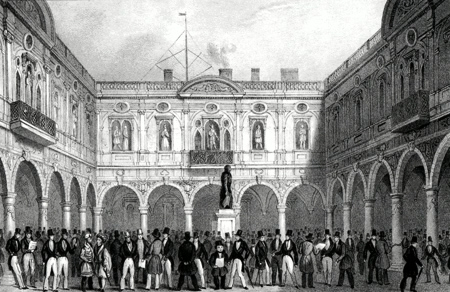 ANTIQUE PRINT: DE KONINKLIJKE BEURS TE LONDON [ROYAL EXCHANGE].