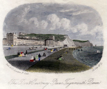 ANTIQUE PRINT: THE DEN & COURTENAY PLACE, TEIGNMOUTH, DEVON.