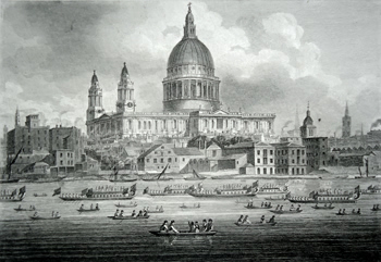 ANTIQUE PRINT: ST. PAUL'S CATHEDRAL, WITH LORD MAYOR'S SHOW ON THE WATER.