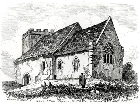 ANTIQUE PRINT: HANGLETON CHURCH, SUSSEX.