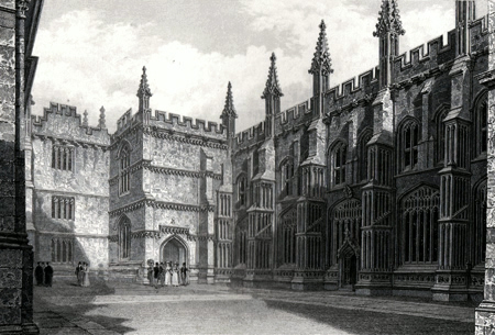 ANTIQUE PRINT: THE DIVINITY SCHOOL, & PART OF THE BODLEIAN LIBRARY.