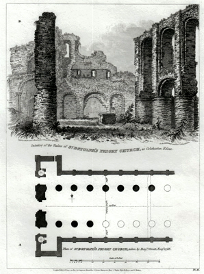 ANTIQUE PRINT: INTERIOR OF THE RUINS OF ST. BOTOLPH'S PRIORY CHURCH, AT COLCHESTER, ESSEX.