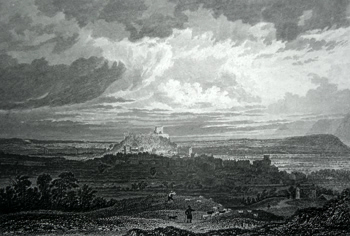 Antique print of Burnley