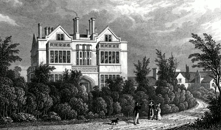 ANTIQUE PRINT: RESIDENCE OF GEN.L SIR HERBERT TAYLOR, BART. REGENT'S PARK. MASTER OF THE ROYAL HOSPITAL OF ST. KATHERINE, &C. TO WHOM THIS PLATE IS MOST RESPECTFULLY DEDICATED.