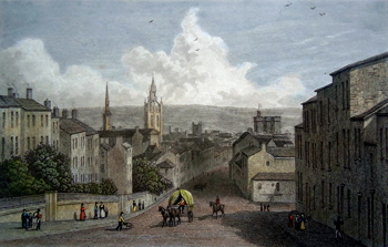 ANTIQUE PRINT: NEWCASTLE. FROM WESTGATE HILL.