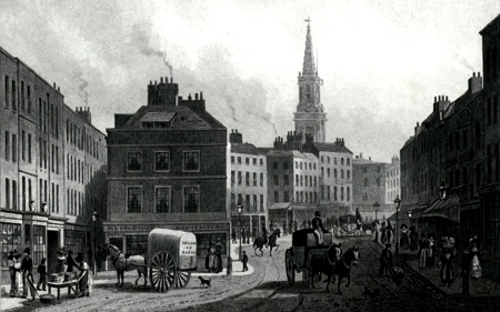 ANTIQUE PRINT: BROAD STREET, BLOOMSBURY.