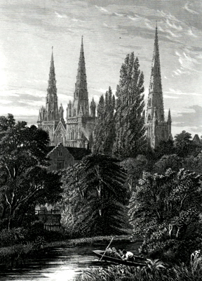 ANTIQUE PRINT: LICHFIELD CATHEDRAL.