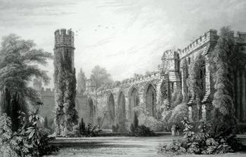 ANTIQUE PRINT: WELLS PALACE : – RUINS OF THE OLD HALL & CHAPEL.
