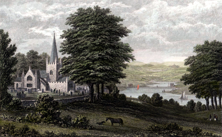 ANTIQUE PRINT: WHIPPINGHAM CHURCH, AND THE LANDSCAPE (LOOKING TO THE SOUTH) SEEN FROM HER MAJESTY'S MARINE RESIDENCE, OSBORNE.