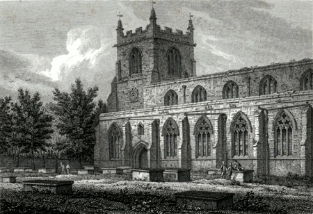 ANTIQUE PRINT: SOUTH VIEW OF BANGOR CATHEDRAL.