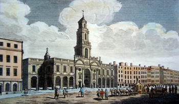 ANTIQUE PRINT: FRONT OF THE ROYAL EXCHANGE.