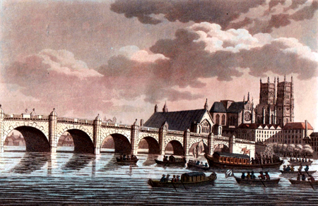 ANTIQUE PRINT: WESTMINSTER-BRIDGE, ABBEY, &C.