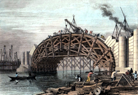 ANTIQUE PRINT: WORKS OF THE STRAND BRIDGE [WATERLOO BRIDGE]. (TAKEN IN THE YEAR 1817.)