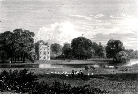 ANTIQUE PRINT: THE REMAINING TOWER OF CARDINAL WOLSEY'S PALACE AT ESHER. IN THE DOMAIN OF JOHN SPICER ESQRE.