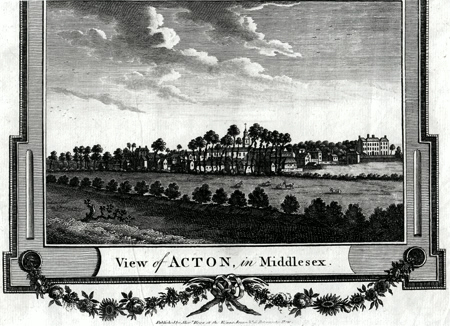 ANTIQUE PRINT: VIEW OF ACTON, IN MIDDLESEX.