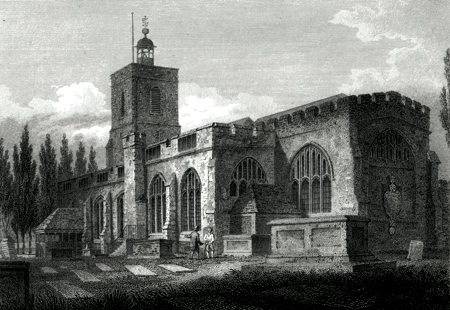 ANTIQUE PRINT: S. E. VIEW OF STEPNEY CHURCH. MIDDLESEX.