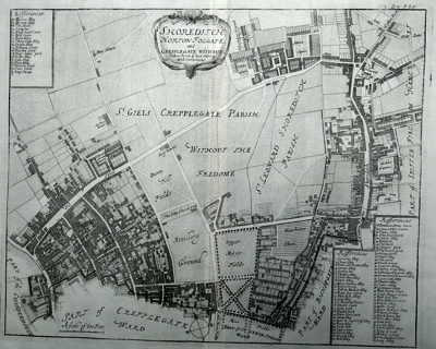 ANTIQUE MAP: SHOREDITCH. NORTON FOLGATE AND CREPPLEGATE WITHOUT. TAKEN FROM YE LAST SURVEY WITH CORRECTIONS.