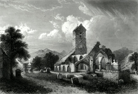ANTIQUE PRINT: OLD CHURCH OF MUTHIL.