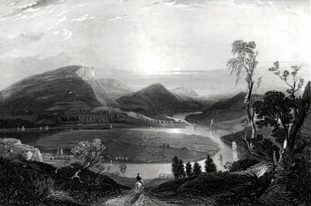 ANTIQUE PRINT: RIVER TAY & KINNOUL HILL &C. FROM EAST OF CRAIGIE.