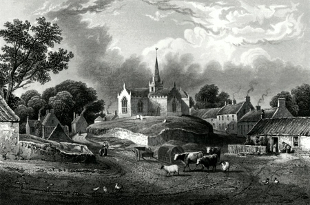 ANTIQUE PRINT: UPPER LARGO & CHURCH.