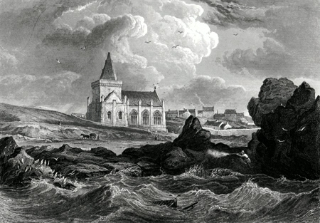 ANTIQUE PRINT: ST. MONANCE CHURCH.