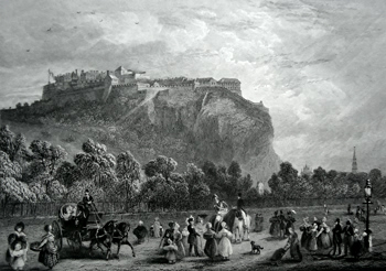 ANTIQUE PRINT: EDINBURGH CASTLE FROM PRINCES STREET.
