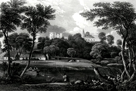ANTIQUE PRINT: DAIRSIE CHURCH & CASTLE.