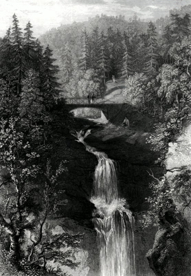 ANTIQUE PRINT: THE UPPER FALL OF MONESS.