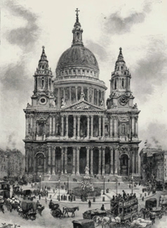 ANTIQUE PRINT: ST. PAUL'S CATHEDRAL. – THE WEST FRONT.