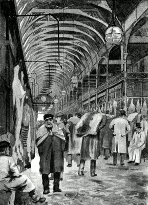 ANTIQUE PRINT: THE METROPOLITAN MEAT MARKET, SMITHFIELD.