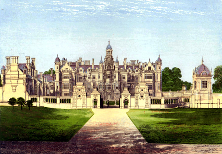 ANTIQUE PRINT: HARLAXTON MANOR.