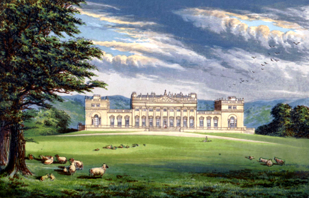 ANTIQUE PRINT: HAREWOOD HOUSE.