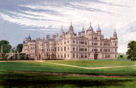 ANTIQUE PRINT: BURGHLEY HOUSE.