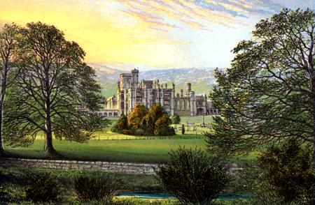 ANTIQUE PRINT: ILAM HALL.