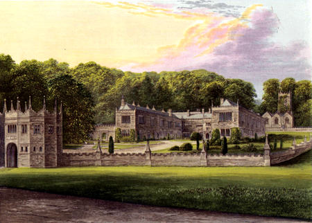 ANTIQUE PRINT: LANHYDROCK HOUSE.