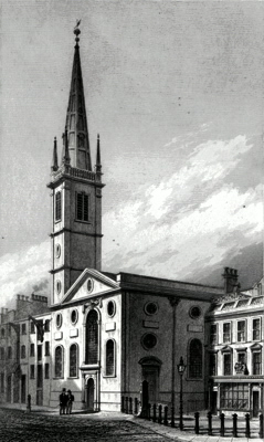 ANTIQUE PRINT: ST. MARGARET PATTENS, FENCHURCH STREET.