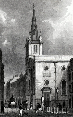 ANTIQUE PRINT: ST. MARGARET PATTENS, ROOD LANE.