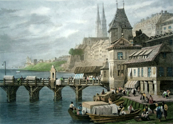 ANTIQUE PRINT: BASLE, – ON THE RHINE. SWITZERLAND.