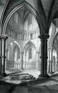 ANTIQUE PRINT: TEMPLE CHURCH, INTERIOR OF THE CIRCULAR PART.