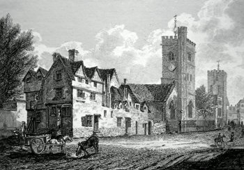 ANTIQUE PRINT: CHURCHES OF ST MARY MAGDALENE AND ST MICHAEL [OXFORD].