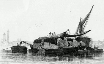 ANTIQUE PRINT: HAY BOATS.