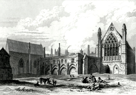 ANTIQUE PRINT: RUINS OF ELY PALACE & CHAPEL, HOLBORN, LONDON.