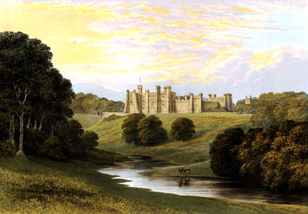 ANTIQUE PRINT: BRANCEPETH CASTLE.