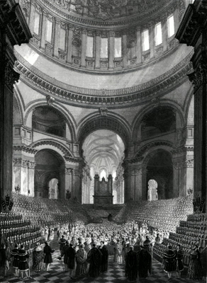 ANTIQUE PRINT: ST. PAUL'S CATHEDRAL. ANNIVERSARY MEETING OF THE CHILDREN OF THE CHARITY SCHOOLS OF LONDON.