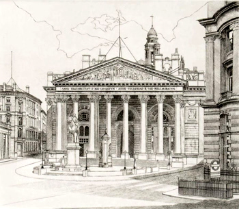 ANTIQUE PRINT: ROYAL EXCHANGE.