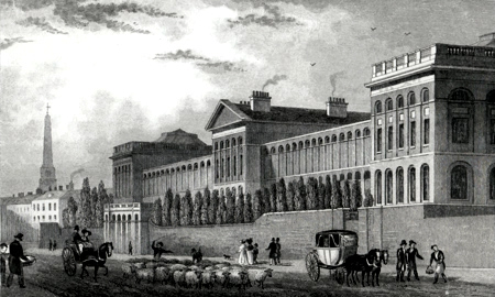 ANTIQUE PRINT: LUNATIC HOSPITAL, ST. LUKE'S [OLD STREET].