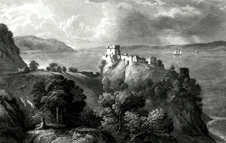 ANTIQUE PRINT: LOCH NESS & CASTLE URQUHART.