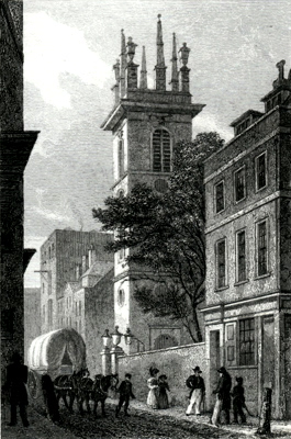 ANTIQUE PRINT: ST. MARY SOMERSET, UPPER THAMES STREET.